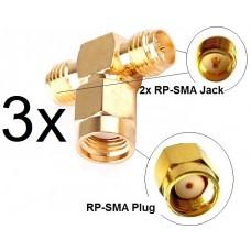 3x Antennen Adapter Splitter RP-SMA Wlan Stück Y-Verteiler T-Stück Pigtail IPX