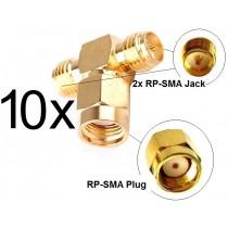 10x Antennen Adapter Splitter RP-SMA Wlan Stück Y-Verteiler T-Stück Pigtail IPX