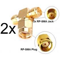 2x Antennen Adapter Splitter RP-SMA Wlan Stück Y-Verteiler T-Stück Pigtail IPX