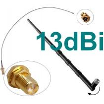 13dBi Antenne + Adapter Kabel RP-SMA u-FL Wlan WiFi Speedport Fritz!Box Pigtail