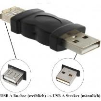 USB Adapter Stecker A (maennlich) Buchse A (weiblich) kein Kabel NEU OVP USBA new