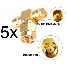 5x Antennen Adapter Splitter RP-SMA Wlan Stück Y-Verteiler T-Stück Pigtail IPX