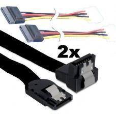 4x Asus SATA Daten Strom Kabel S-ATA Winkel Klipp 50cm