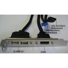 2 Stück Asus Slotblech 2x USB 2 1x esata bracket Slotblende NEU e-sata OVP Slot