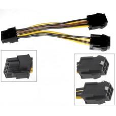 2 Stueck PCI-E Y Stromkabel 2x 6 pol zu 8 polig Grafikkarten Adapter Kabel PCIe